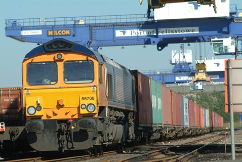 Rail freight at Port of Felixstowe