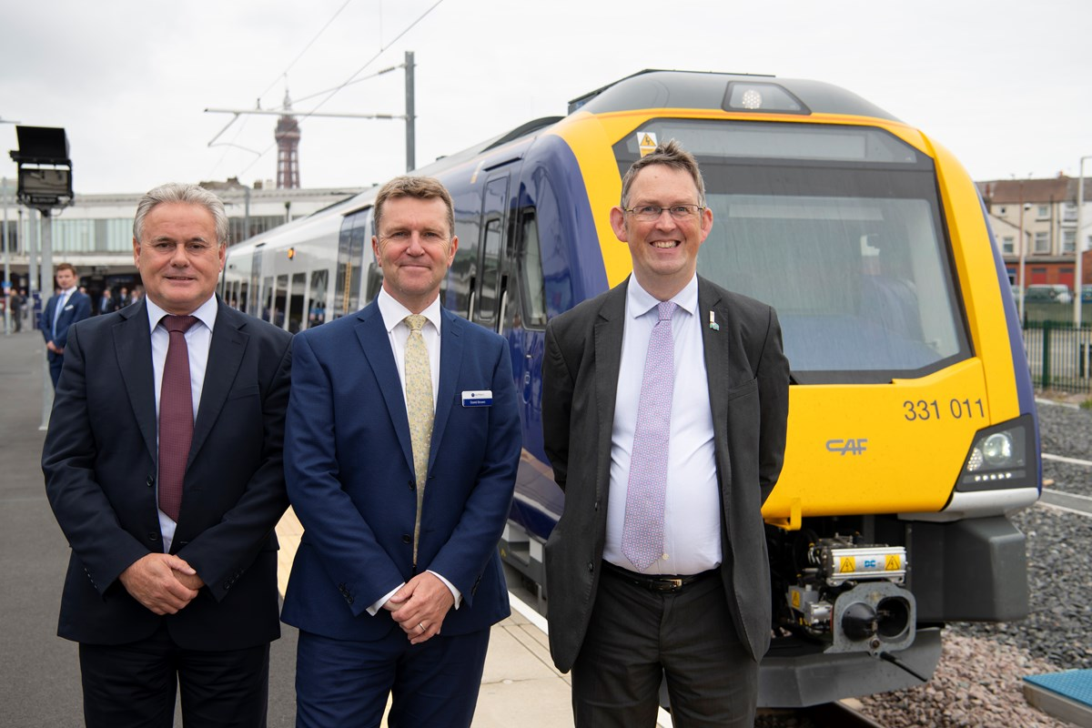 New trains at Blackpool  North: Northern MD  David Brown (centre) is joined by Paul Maynard MP (right) and John Blackledge, Director of Community and Environment at Blackpool Council (left)