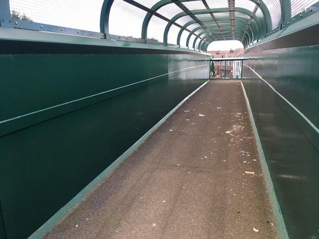 Mossley Hill footbridge after repainting