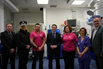 Navigator visit to Edinburgh Royal Infirmary: Left to right: Keith Jack (Navigator coordinator), Superintendent Robert Paris (Local Area Commander), Tam Begbie (Navigator), Justice Secretary Michael Matheson, Geraldine Lennon (Navigator), Dr Sara Robinson (Clinical Director for Emergency Medicine), Will Linden (VRU Acting Director)