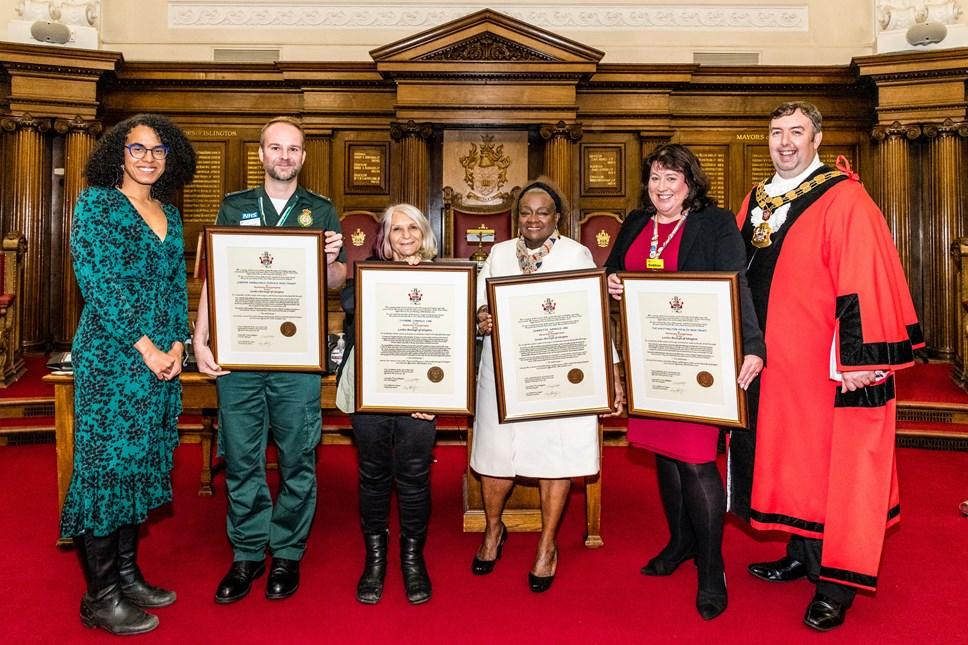Cllr Kaya Comer-Schwartz; Alex Ewings (London Ambulance Service); Sue Seifert (friend of Yvonne Conolly); Jennette Arnold OBE; Siobhan Harrington; Mr Mayor