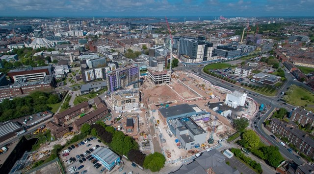 Aerial view of the construction site near Liverpool Lime Street station