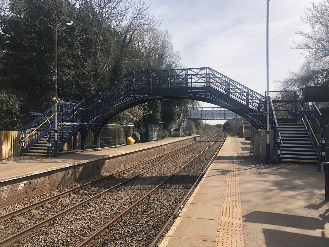 Refurbished footbridge at Cottingham station