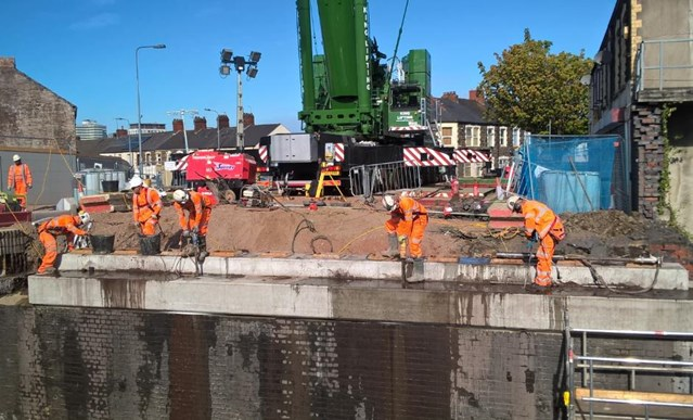 First phase of upgrade work at Splott Road bridge completed ahead of schedule: Work took place over the August Bank Holiday Weekend to demolish and reconstruct the first half of Splott Road bridge (2)