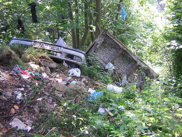 Fly-tipping - Surbiton, Surrey: An example of amount of rubbish dumped on railway land.  