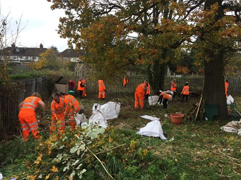 Network Rail volunteers clearing up Copsewood Road community garden in Watford