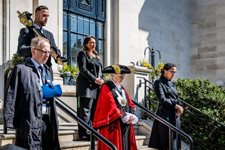 National silence for HRH The Duke of Edinburgh: Front row, from left: Leader of Islington Council Cllr Richard Watts, Mayor of Islington Cllr Janet Burgess, Deputy Leader Cllr Kaya Comer-Schwartz. Tow row, from left: Mace Bearer Sertan Hassan, Islington Council CEO Linzi Roberts-Egan.