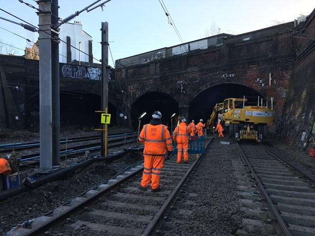 Slab track renewal taking place at Kentish Town, Camden, on 28 December 2017-4