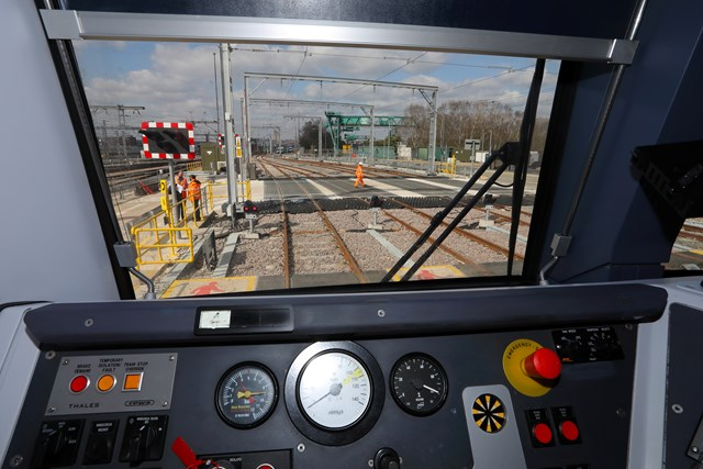 New Midland Main Line station a step closer as Network Rail improves track layout: Copyright: Brent Cross Cricklewood regeneration programme. Brent Cross West March 2021 lxxxvi View from cab of train parked in new sidings