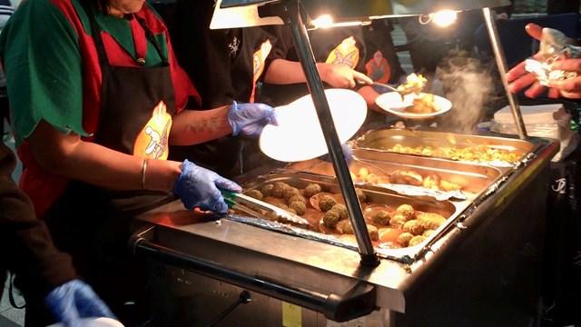 Birmingham New Street Christmas Eve meal 2018 - close up of food preparation