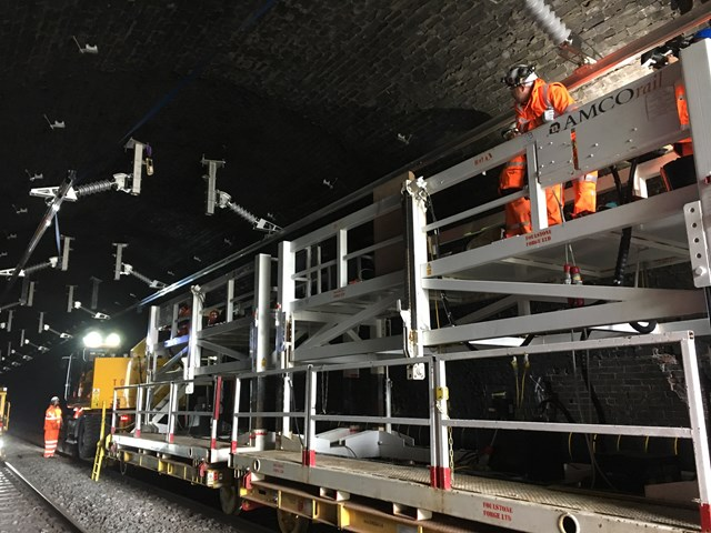 AMCO staff installing OLE at Chipping Sodbury tunnel