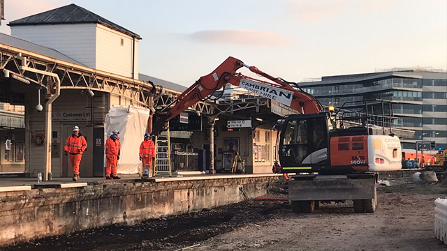 Foundations completed for new eastern entrance at Bristol Temple Meads station: Digging out platform 15