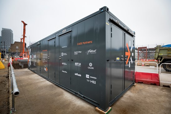 HS2 trials game-changing Clean Air Gas Engine technology to dramatically cut carbon on construction sites: CAGE hybrid Advanté welfare system at HS2 Euston site