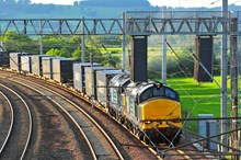 Rail freight produces 76% less CO2 than road haulage per tonne of goods carried: freight train