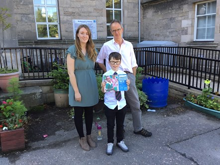 Generous Forres ex-pupils leave a lasting impression : P7 teachers Miss Jardine and Mr Sleaford and former Andersons Primary pupil, Harley Sharp.