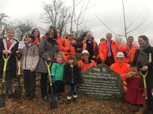 Rail Minister Andrew Jones MP, John Varley, representatives from Network Rail and members of Hadley Wood community at the launch of the Hadley Wood community planting project