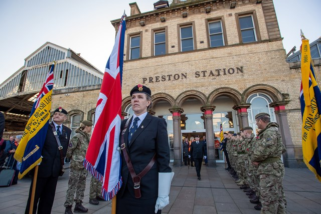 The welcoming party including cadets and the Royal British Legion awaiting Ernest's arrival in Preston