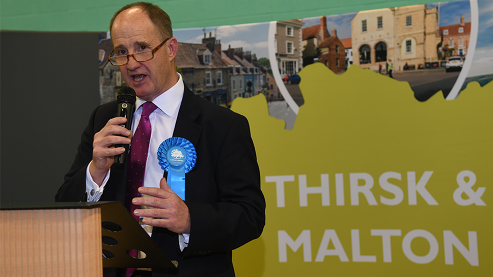 Kevin Hollinrake is elected MP for Thirsk and Malton: Kevin Hollinrake is elected MP for Thirsk and Malton