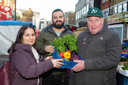 Market Trader of the Year 2019: Islington Market Trader of the Year 2019 - (L-R) Serpil Erce, Racheed Muhammed of Sunny's Olive Tree, Dave Jackson