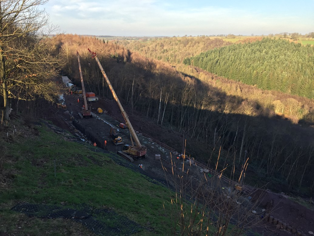 Next phase of works underway as reopening of historic railway line gets ever closer: View over the work at Eden Brows
