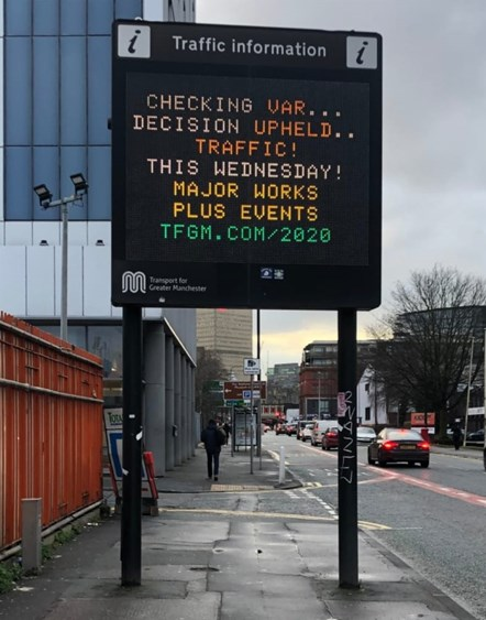 Motorists united to beat match day traffic: Man United vs Club Brugge VMS message February2020