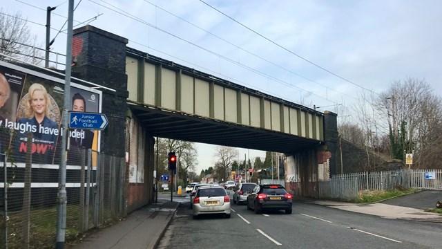 Passengers warned of bridge improvements on Manchester Airport line: Slade Lane bridge Levenshulme February 2020