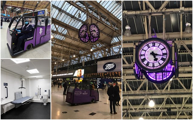 International Day of Disabled Persons marked in Network Rail's Southern region with new mobility buggies and Changing Place facility: PurpleLightUpCollage