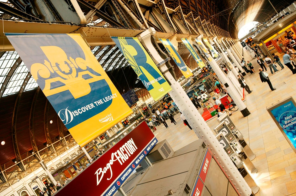 Banners at Paddington Station celebrating the birth of Isambard Kingdom Brunel: Network Rail's Discover the Legacy Exhibition at Paddington as part of the bicentennial celebration of Isambard Kingdom Brunel's birth.
