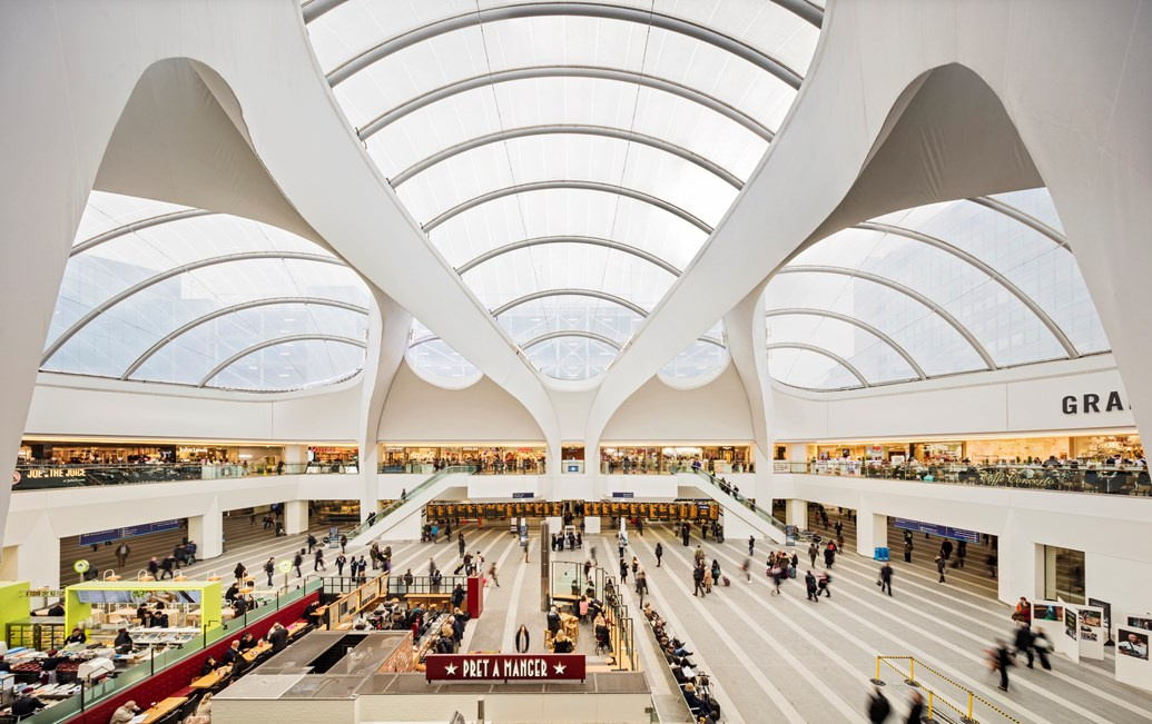 Christmas shoppers keep station retailers on track: Birmingham New Street and Grand Central - roof, inside aerial shot