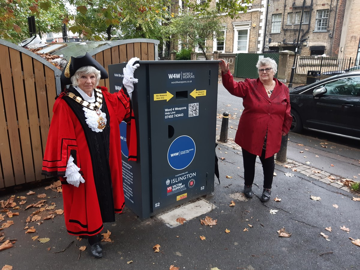 Mayor of Islington Janet Burgess and Cllr Sue Lukes, with one of the new knife bins in Highbury