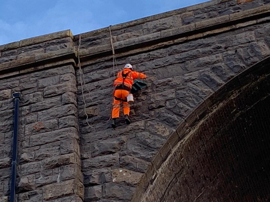 Rope access team inspecting Ribblehead viaduct Jan 2021