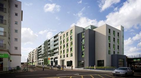 Epsom - artist's impression of new station and property development