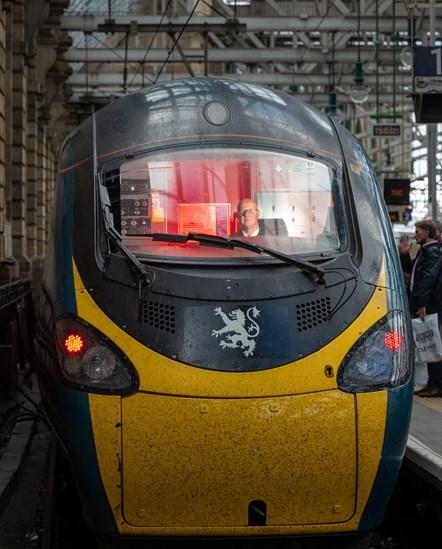 Royal Scot arrives at Glasgow - Driver Neil Barker in cab