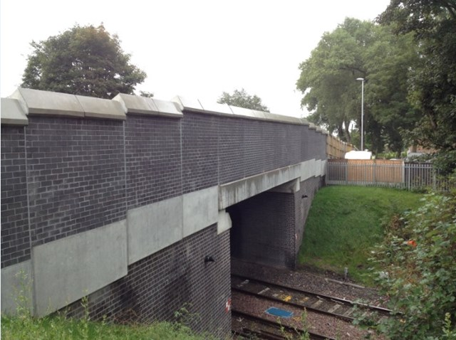 Walsall-Rugeley Electrification: Central Drive reconstructed bridge before OLE installation