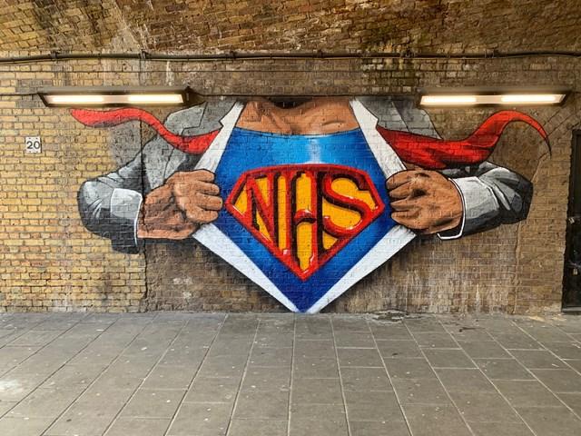 NHS heroes mural - Waterloo East: NHS heroes mural - Waterloo East. Work by Lionel Stanhope