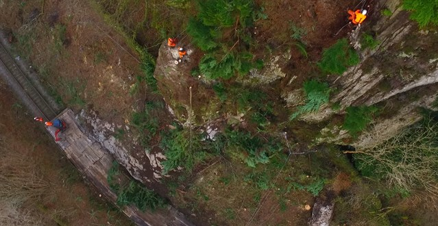 Conwy Valley Line set to reopen in April following damage caused by Storm Doris: Wales - Drone photo of repair work at Blaenau Ffestiniog-2