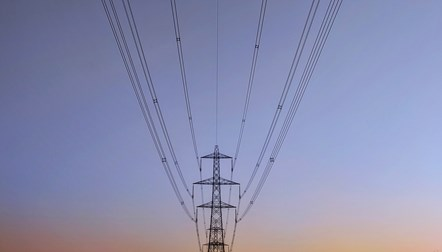 Electricity pylon and cables (landscape)