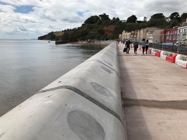 The new wall in Dawlish is 2.5 metres higher with a wave return