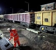 Track renewal work during Cumbrian coast line renewal