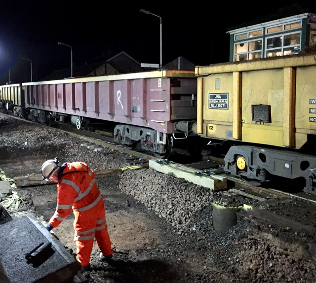 Track renewal work during Cumbrian coast line renewal