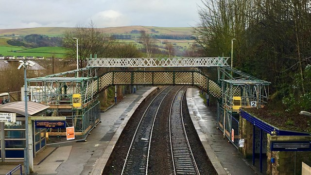 Historic Peak District railway footbridge to be lovingly restored for passengers: New Mills Newtown footbridge during restoration work-2