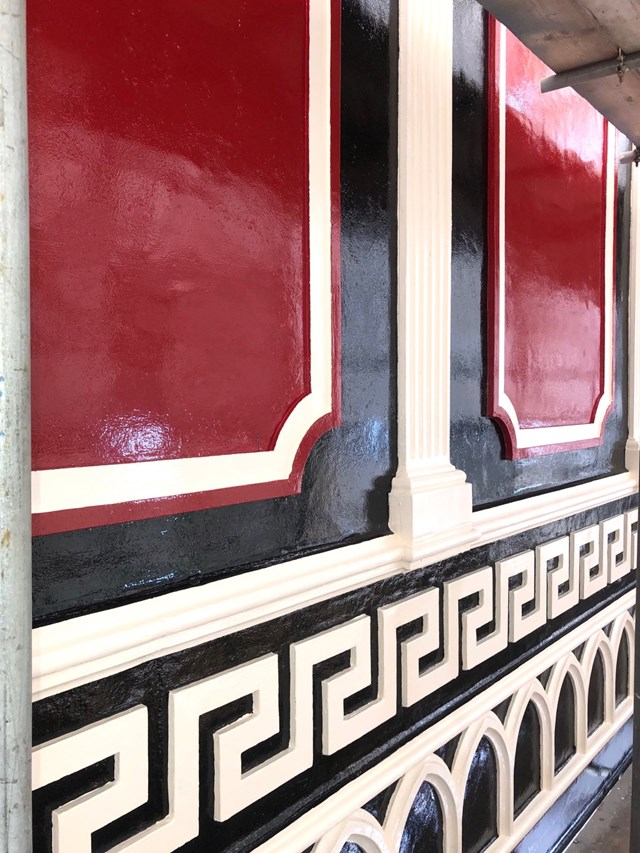 Detail of the restored paint colours on the bridges