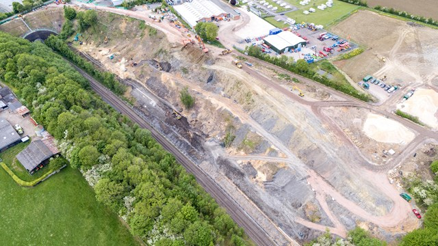 Multi-million-pound investment to prevent landslips on Chiltern main line: Harbury embankment aerial view 16x9