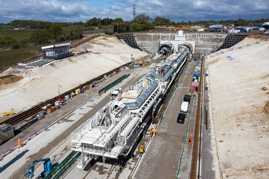 Historic moment as HS2 launches first giant tunnelling machine: Aerial of Florence, HS2's first TBM that will dig underneath the Chilterns