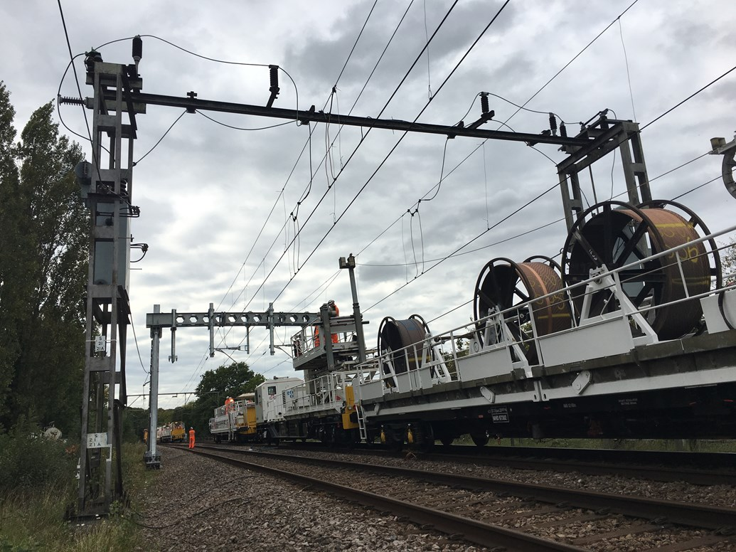 Southend Victoria line reopens on weeknights ahead of schedule following upgrades: Installing the first new overhead wires on the Southend Victoria line