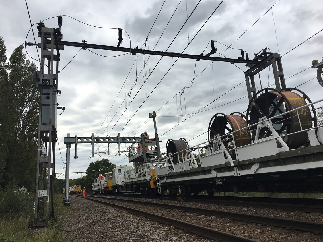 Passengers in Norfolk, Suffolk, Essex and Southend advised to check before they travel this May: Installing the first new overhead wires on the Southend Victoria line