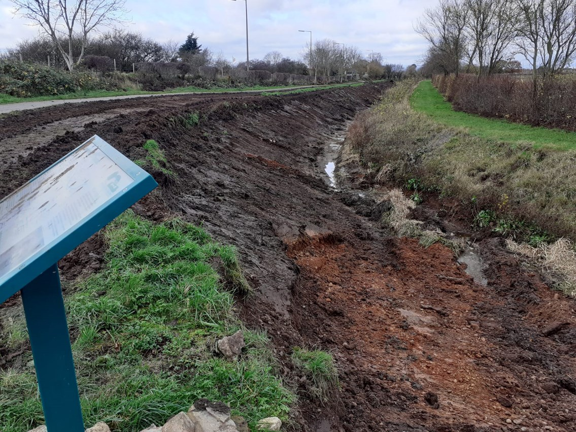 Network Rail teams up with Derby and Sandiacre Canal Trust to reduce flooding and restore historic waterway: Work to reduce flooding and restore historic waterway begins. Photo credit Derby and Sandiacre Canal Trust