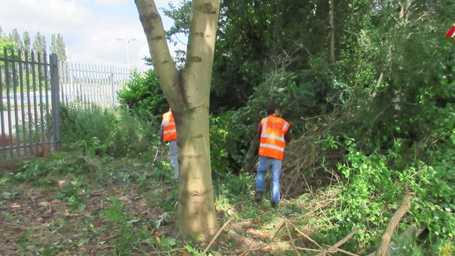 Praise from residents after work to tidy up land by Kettering railway station starts: Work in progress at land by Kettering station