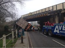 Oversized lorry railway bridge strike