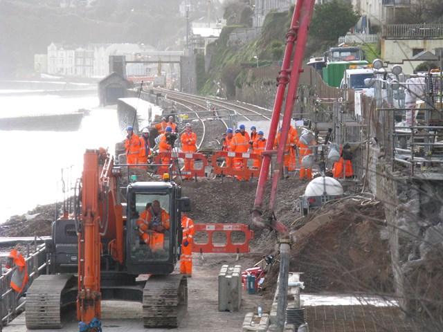 Repairs to the railway at Dawlish: Repairs to the sea wall at Dawlish